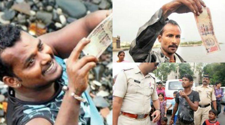 Money floats in Mumbai sea