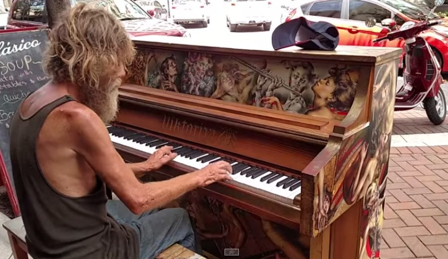 Homeless man on Piano